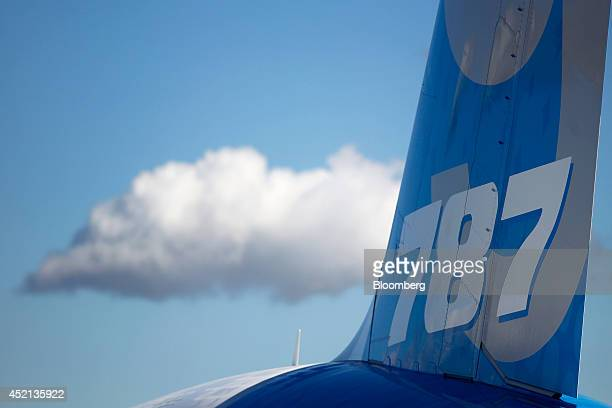 A 787 logo sits on the tail fin of a Boeing 7879 Dreamliner aircraft produced by Boeing Co as it stands on display on the first day of the...