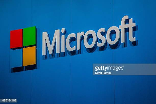 A logo sits outside the Microsoft pavilion during the second day of the Mobile World Congress 2015 at the Fira Gran Via complex on March 3 2015 in...