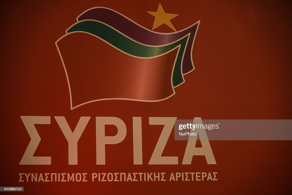 Logo SYRIZA during meeting of the Central Committee SYRIZA, Saturday 25 / Sunday 26 at Divani Caravel Hotel in Athens on June 25, 2016. One of the central topics was the impact of the Brexit.
