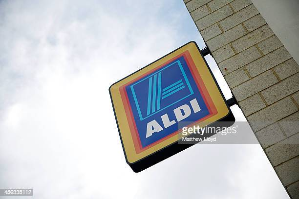 Logos adorn an Aldi supermarket near Croydon on September 29 2014 in London England Aldi has reported a 65% increase in profits and is planning to...