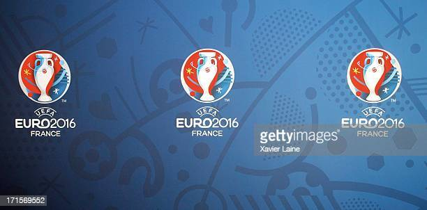 Logos are displayed during the EURO 2016 Logo Slogan Launch on June 26 2013 in Paris France