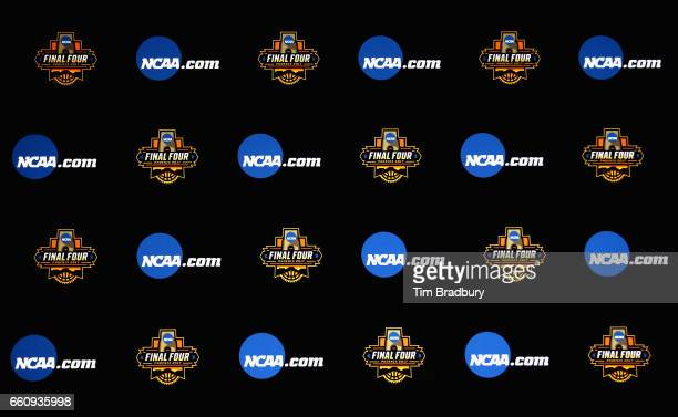 Logos for the 2017 Final Four and NCAAcom are seen on a backdrop during a press conference for the 2017 NCAA Men's Basketball Final Four at...