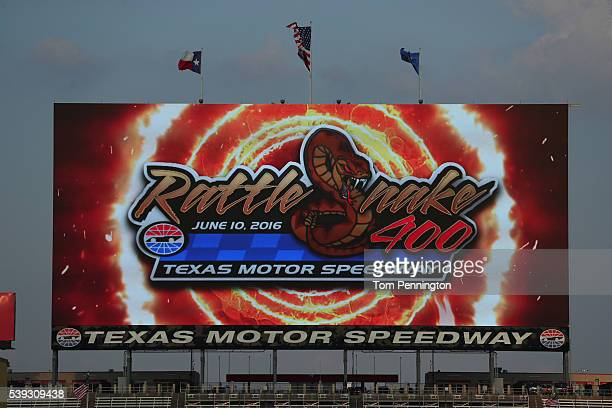 Logos on Big Hoss TV during the NASCAR Camping World Truck Series Rattlesnake 400 at Texas Motor Speedway on June 10 2016 in Fort Worth Texas