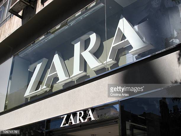 Logotype of Zara at the entrance of a fashion shop's in Madrid october 2010