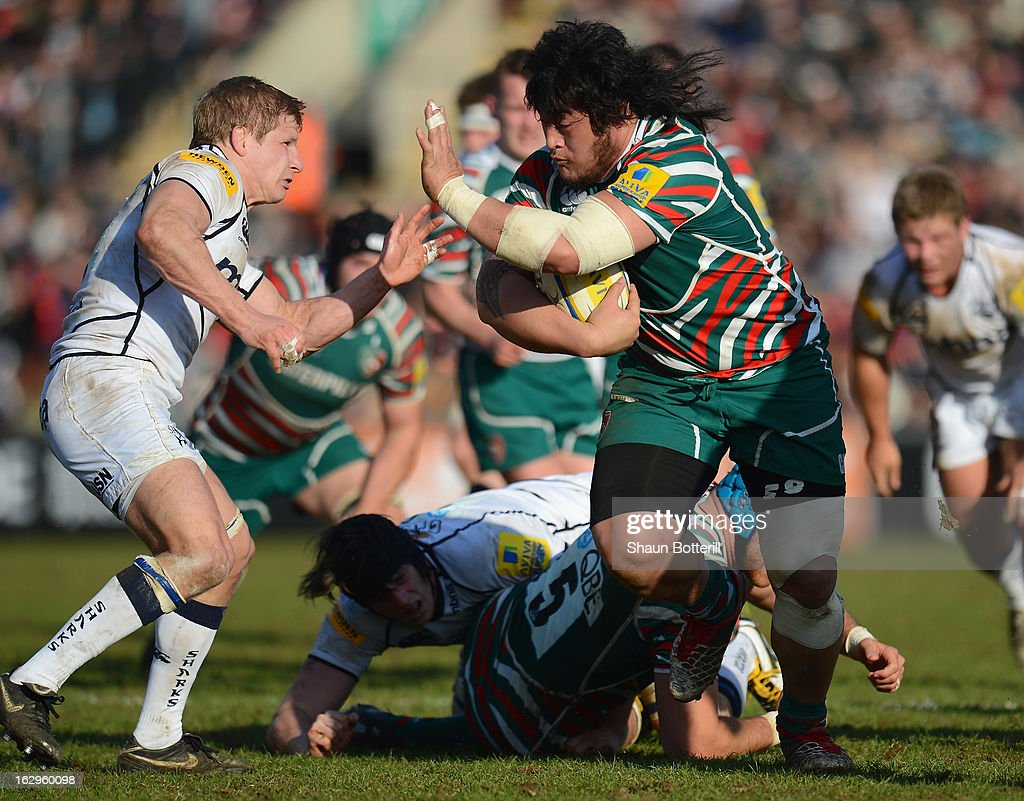 Logovi'i Mullipola of Leicester Tigers breaks through the Sale Sharks defence during the Aviva Premiership match between Leicester Tigers and Sale Sharks at Welford Road on March 2, 2013 in Leicester, England.