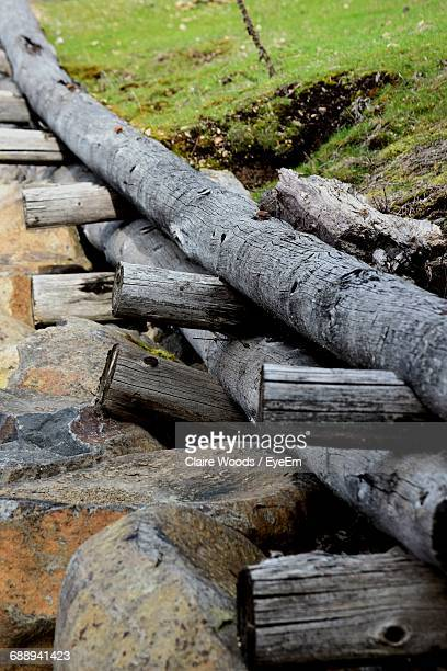 Logs And Rocks By Grassy Field