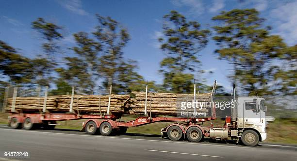 Logs are transported by a logging truck in Launceston in northern Tasmania Australia on Tuesday Nov 6 2007 As Australia's general election nears one...