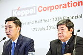 Loh Chin Hua chief executive officer of Keppel Corp left speaks while Chow Yew Yuen chief executive officer of Keppel Offshore Marine Ltd looks on...