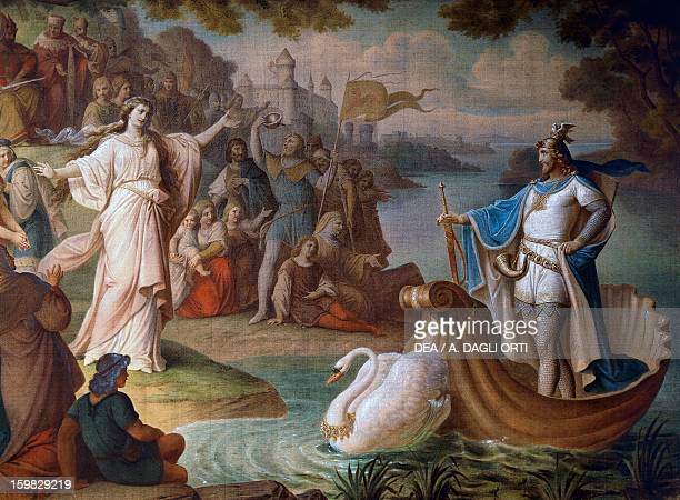 Lohengrin arrives in Antwerp on a ship pulled by a swan on the waters of the Scheldt painting from the Lohengrin mural cycle by August von Heckel...
