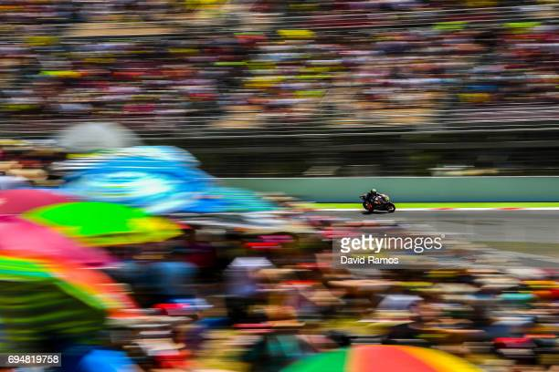 Loi livio of Belgium and Leopard Racing rides during the Moto2 of Catalunya at Circuit de Catalunya on June 11 2017 in Montmelo Spain