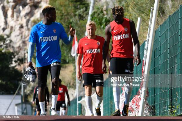 Loic Badiashile and Kamil Glik of Monaco during the training session of AS Monaco on July 5 2017 in Monaco Monaco