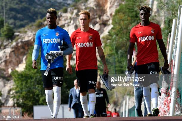 Loic Badiashile Irvin Cardona and Kevin Ndoram of Monaco during training session of As Monaco on June 30 2017 in Monaco Monaco