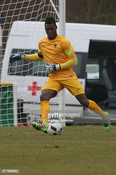 Loic Badiashile of France during the friendly match between U18 Germany and U18 France at SaarMoselStadium on March 24 2016 in Konz Germany