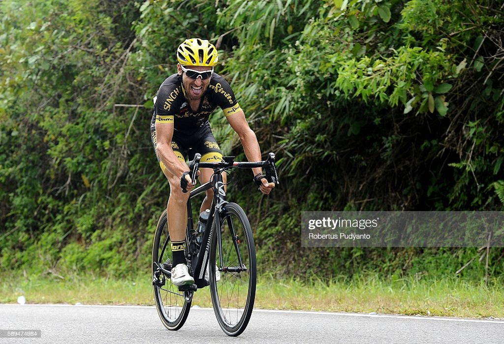 Loic Desriac of Singha Infinite Cycling Team competes during stage eight of the 2016 Tour de Singkarak Bukittinggi Padang 146 km on August 14 2016 in...