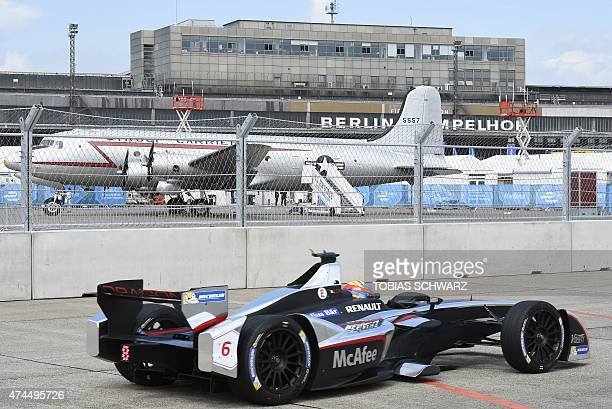 Loic Duval of Team Dragon Racing steers his car during the qualifying session of the 2015 Fia Formula E Berlin championships in Berlin May 23 2015...