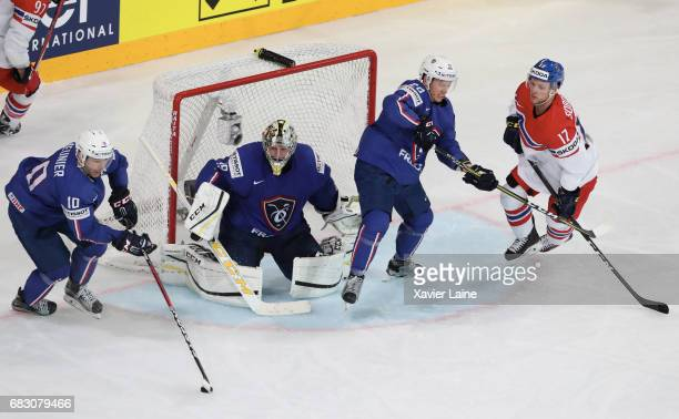 Loic Lamperier Florian Hardy and Damien Raux of France in action with Vladimir Sobotka of Czech Republic during the 2017 IIHF Ice Hockey World...