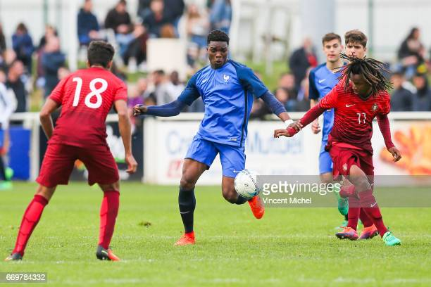 Loic MBe Soh of France during the U16 Mondial football Final match between France U16 and Portugal U16 on April 17 2017 in Montaigu France