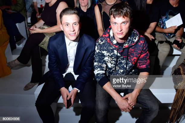 Loic Nottet and Louka Meliava attend the Balmain Menswear Spring/Summer 2018 show as part of Paris Fashion Week on June 24 2017 in Paris France