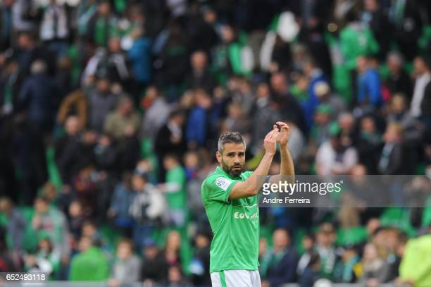 Loic Perin of Saint Etienne celebrates during the French Ligue 1 match between Saint Etienne and Metz at Stade GeoffroyGuichard on March 12 2017 in...