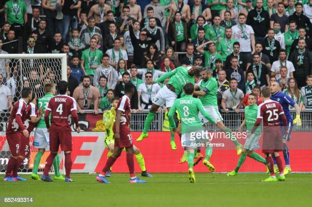 Loic Perin of Saint Etienne scores his goal during the French Ligue 1 match between Saint Etienne and Metz at Stade GeoffroyGuichard on March 12 2017...