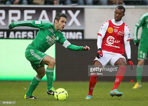 Loic Perrin of ASSE in action during the french Ligue 1 match between Stade de Reims and AS SaintEtienne at the Stade Auguste Delaune on February 17...