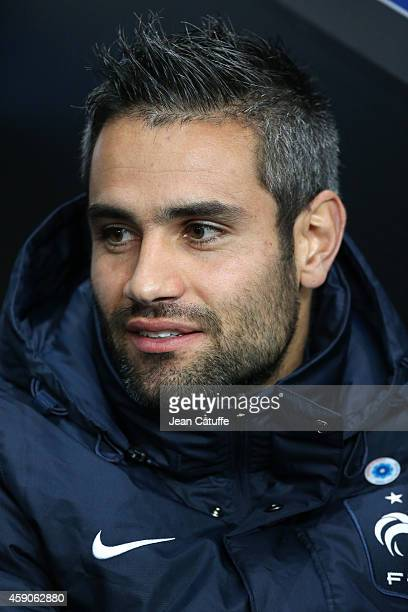Loic Perrin of France looks on from the bench during the international friendly match between France and Albania at Stade de la Route de Lorient...