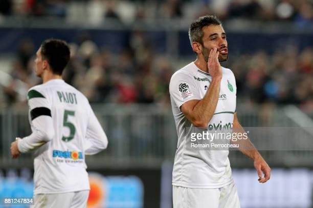Loic Perrin of Saint Etienne gestures during the Ligue 1 match between FC Girondins de Bordeaux and AS SaintEtienne at Stade Matmut Atlantique on...