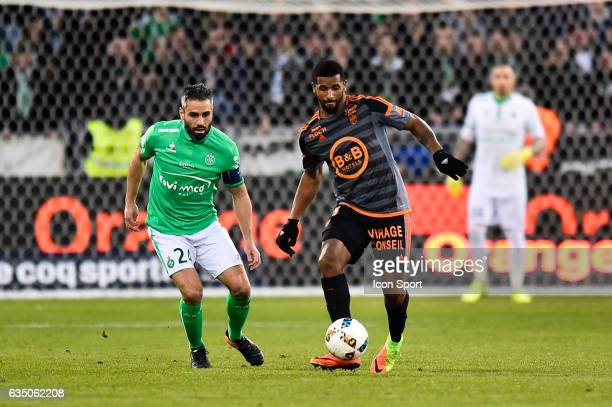 Loic Perrin of SaintEtienne Cafu of Lorient during the Ligue 1 match between AS Saint Etienne and Fc Lorient at Stade GeoffroyGuichard on February 12...