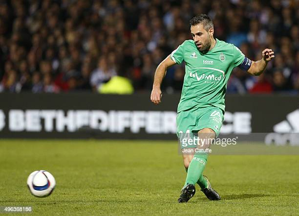 Loic Perrin of SaintEtienne in action during the French Ligue 1 match between Olympique Lyonnais and AS SaintEtienne at Stade de Gerland on November...