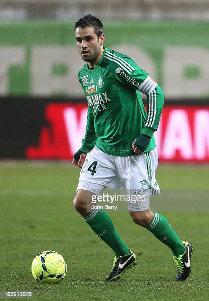 Loic Perrin of SaintEtienne in action during the Ligue 1 match between AS SaintEtienne ASSE and Paris SaintGermain FC at the Stade GeoffroyGuichard...