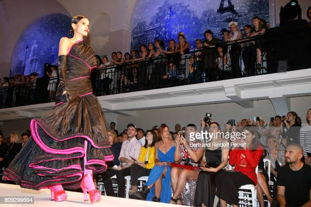 Loic Prigent Aloise Sauvage Fauve Hautot Rossy de Palma Blanca Li and Hiba Abou attend the Jean Paul Gaultier Haute Couture Fall/Winter 20172018 show...