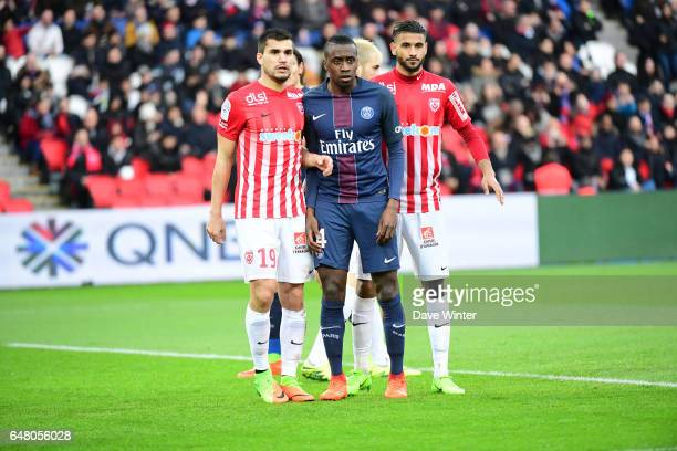 Loic Puyo of Nancy Blaise Matuidi of PSG and Youssef Ait Bennasser of Nancy during the French Ligue 1 match between Paris Saint Germain and Nancy at...