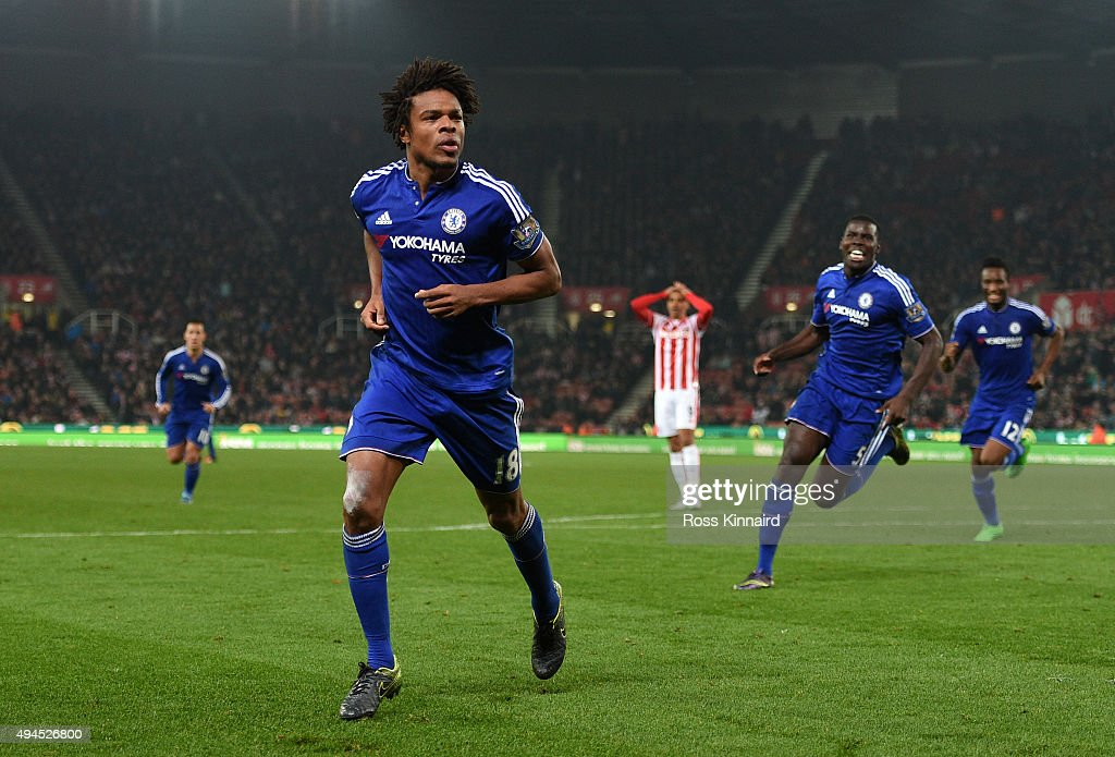 Loic Remy of Chelsea celebrates after scoring an injury time goal to level the scores at 1-1 during the Capital One Cup fourth round match between Stoke City and Chelsea at the Britannia Stadium on October 27, 2015 in Stoke on Trent, England.