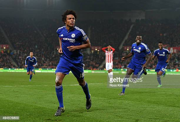 Loic Remy of Chelsea celebrates after scoring an injury time goal to level the scores at 11 during the Capital One Cup fourth round match between...