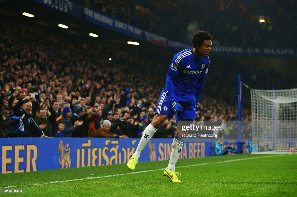 Loic Remy of Chelsea celebrates as he scores their second goal during the FA Cup Third Round match between Chelsea and Watford at Stamford Bridge on January 4, 2015 in London, England.