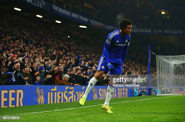 Loic Remy of Chelsea celebrates as he scores their second goal during the FA Cup Third Round match between Chelsea and Watford at Stamford Bridge on...