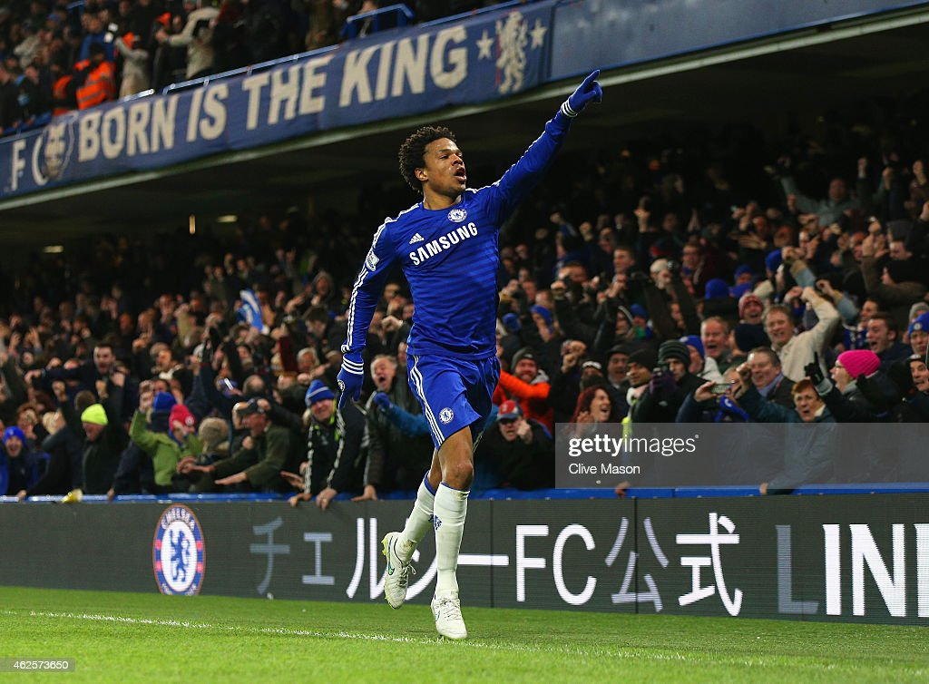 Loic Remy of Chelsea celebrates scoring the opening goal during the Barclays Premier League match between Chelsea and Manchester City at Stamford Bridge on January 31, 2015 in London, England.