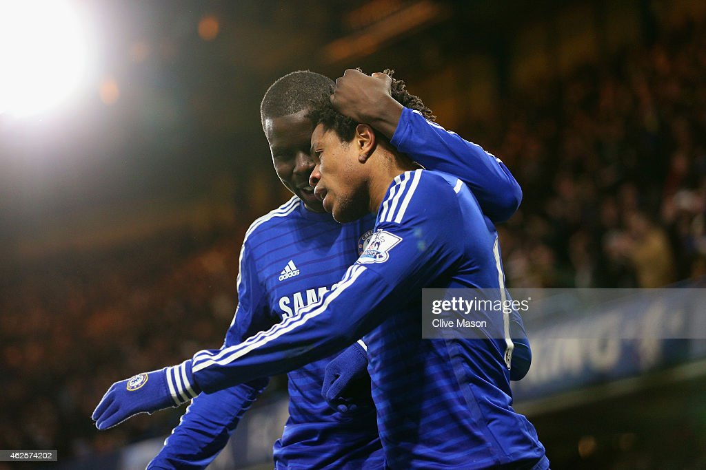Loic Remy of Chelsea celebrates scoring the opening goal with <a gi-track='captionPersonalityLinkClicked' href=/galleries/search?phrase=Kurt+Zouma&family=editorial&specificpeople=7905425 ng-click='$event.stopPropagation()'>Kurt Zouma</a> of Chelsea during the Barclays Premier League match between Chelsea and Manchester City at Stamford Bridge on January 31, 2015 in London, England.