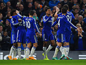 Loic Remy of Chelsea celebrates scoring their third goal with Cesc Fabregas Eden Hazard and Cesar Azpilicueta of Chelsea during the Barclays Premier...