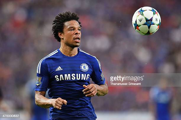 Loic Remy of Chelsea FC looks the ball during the international friendly match between Thailand AllStars and Chelsea FC at Rajamangala Stadium on May...