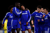 Loic Remy of Chelsea pulls up injured after scoring the opening goal during the UEFA Champions League Group G match between Chelsea FC and NK Maribor...