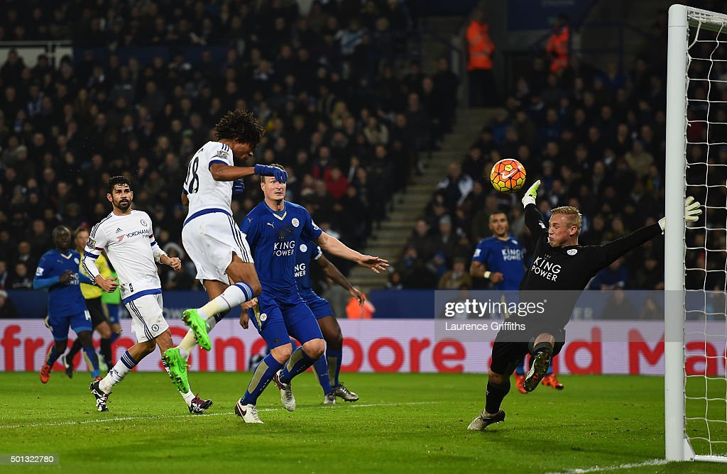 Loic Remy of Chelsea scores a goal past the outstretched Kasper Schmeichel of Leicester City during the Barclays Premier League match between Leicester City and Chelsea at the King Power Stadium on December14, 2015 in Leicester, United Kingdom.