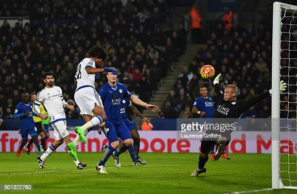 Loic Remy of Chelsea scores a goal past the outstretched Kasper Schmeichel of Leicester City during the Barclays Premier League match between...