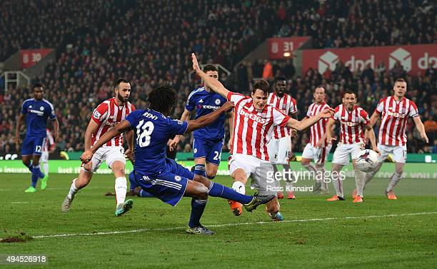 Loic Remy of Chelsea scores an injury time goal to level the scores at 11 during the Capital One Cup fourth round match between Stoke City and...
