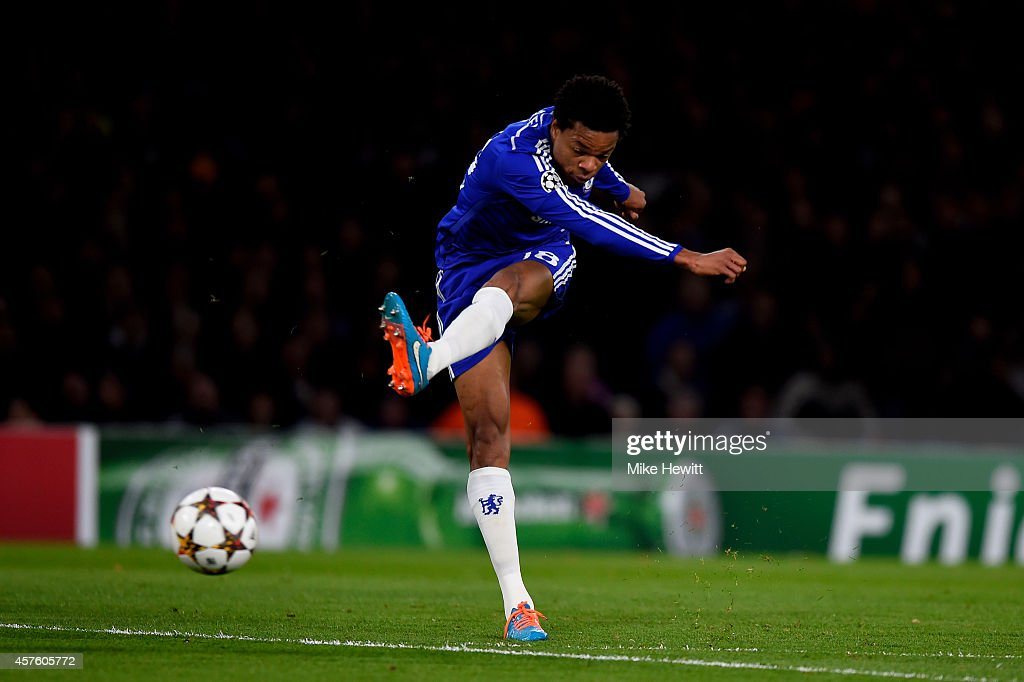 Loic Remy of Chelsea scores the opening goal during the UEFA Champions League Group G match between Chelsea FC and NK Maribor at Stamford Bridge on October 21, 2014 in London, United Kingdom.