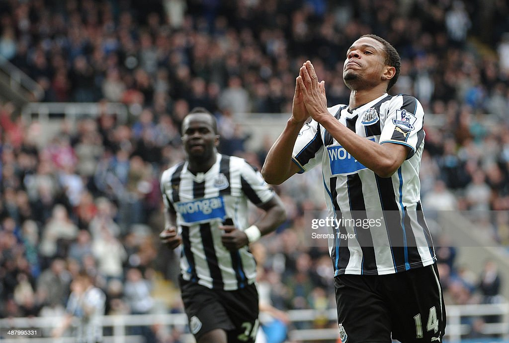 Loic Remy of Newcastle celebrates after scoring the second goal during the Barclays Premier League match between Newcastle United and Cardiff City at St. James' Park on May 03, 2014, in Newcastle upon Tyne, England.