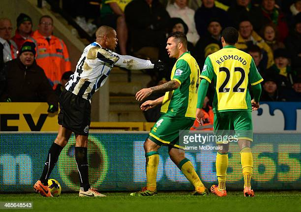 Loic Remy of Newcastle United and Bradley Johnson of Norwich City come to blows during the Barclays Premier League match between Norwich City and...