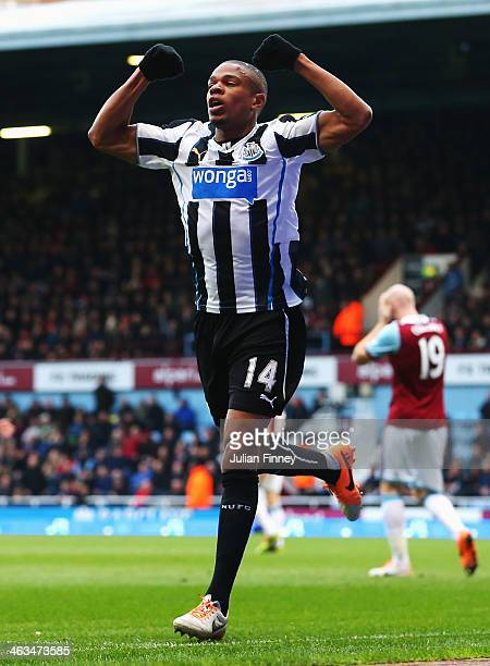 Loic Remy of Newcastle United celebrates scoring his teams second goal during the Barclays Premier League match between West Ham United and Newcastle...