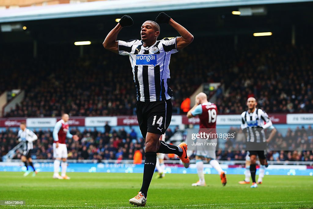 Loic Remy of Newcastle United celebrates scoring his teams second goal during the Barclays Premier League match between West Ham United and Newcastle United at the Boleyn Ground on January 18, 2014 in London, England.