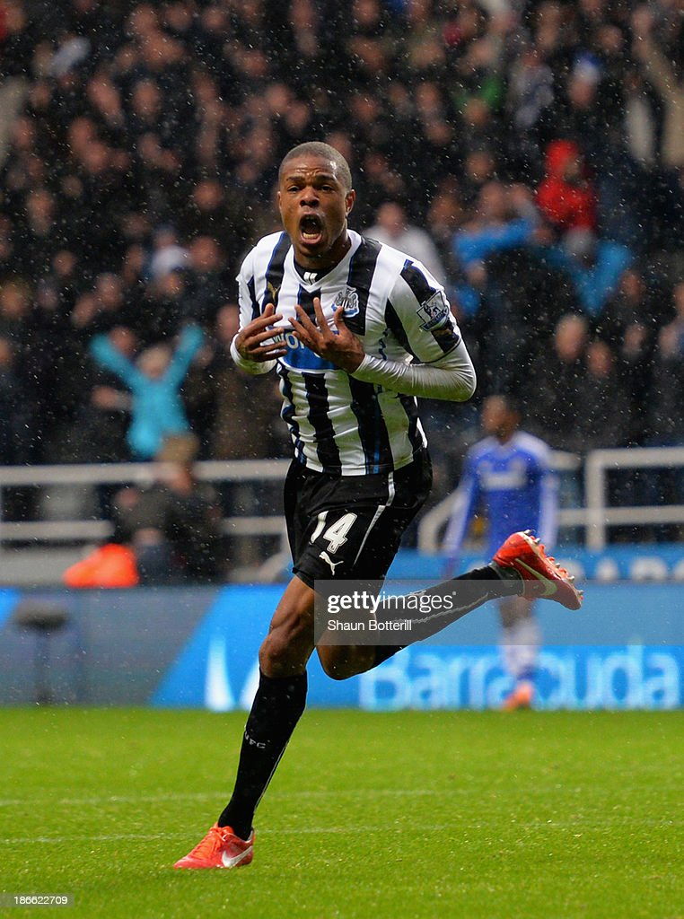 Loic Remy of Newcastle United celebrates scoring their second goal during the Barclays Premier League match between Newcastle United and Chelsea at St James' Park on November 2, 2013 in Newcastle upon Tyne, England.